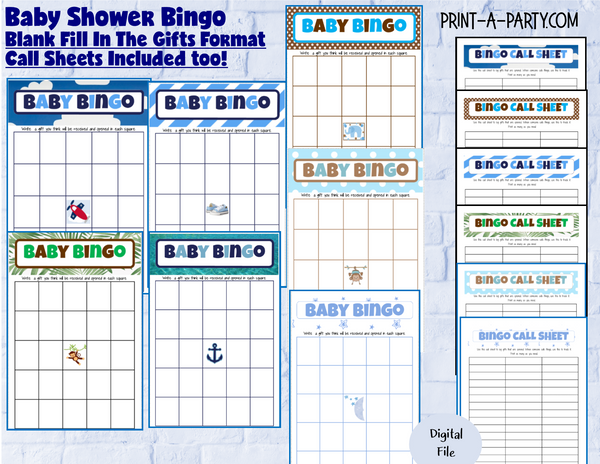 BINGO Baby Shower - Fill In Gifts Bingo Game - INSTANT DOWNLOAD