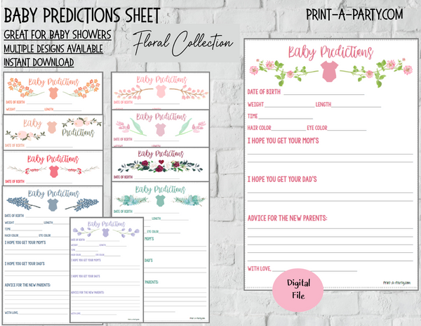 BABY PREDICTIONS Sheet FLORAL COLLECTION for Baby Shower or Baby Book - INSTANT DOWNLOAD