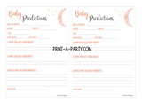 BABY PREDICTIONS Sheet for Baby Shower or Baby Book - INSTANT DOWNLOAD