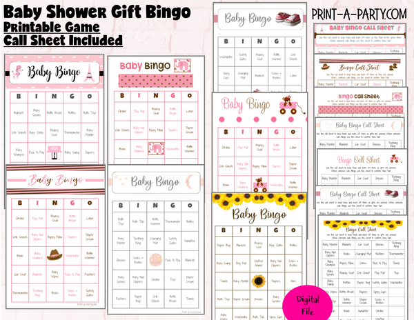 BINGO Baby Shower - Gift Bingo Game - choose your theme and size
