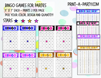 BINGO: Stars - INSTANT DOWNLOAD - For Birthdays, Classrooms or Parties