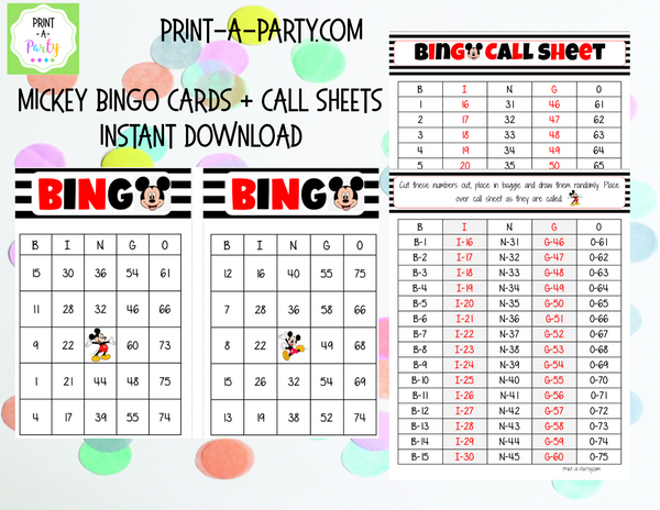 BINGO: Mickey Mouse | Classrooms | Parties | Birthday | 30, 40, or 50 cards - INSTANT DOWNLOAD