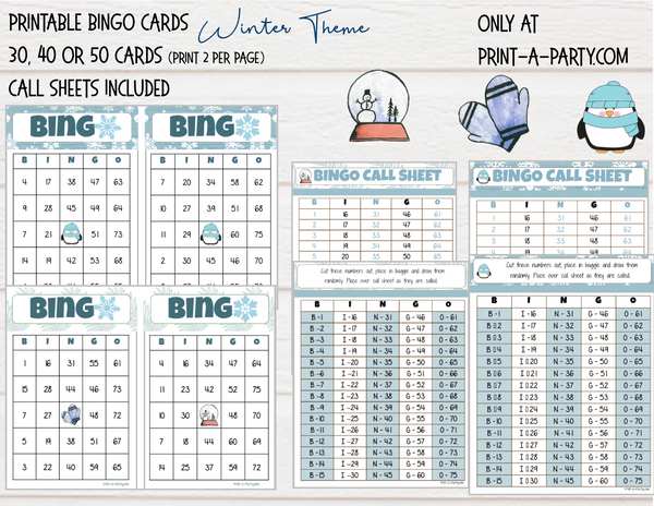 BINGO: Winter | Penguin | Snow Globe | Classrooms | Parties | Birthday | Holiday | 30, 40, or 50 cards - INSTANT DOWNLOAD