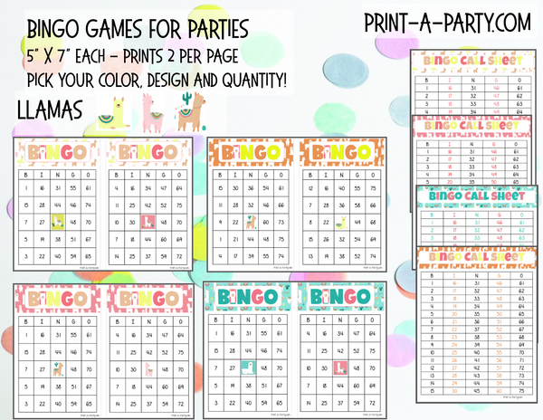 BINGO: Llamas - For Birthdays, Classrooms, Parties - INSTANT DOWNLOAD