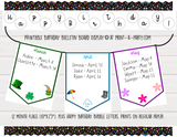 BACK TO SCHOOL: Birthday Bulletin Board Display for Classroom | Birthdays Monthly Banner Flags | Birthday Bulletin Board Display
