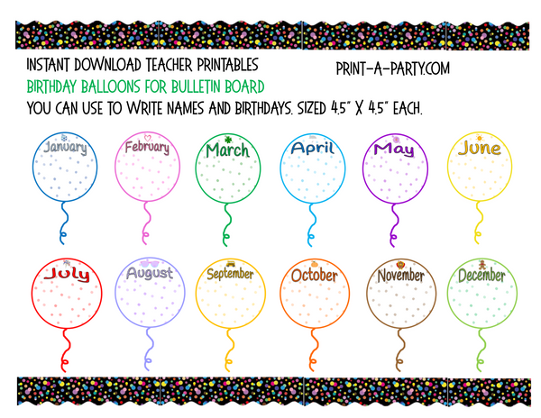 BACK TO SCHOOL: Birthday Bulletin Board Display for Classroom | Birthdays | Monthly Balloons - Birthday Bulletin Board Display
