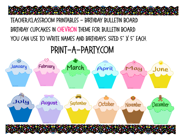 BACK TO SCHOOL: Birthday Bulletin Board Display for Classroom | Birthdays Monthly Chevron Cupcake Birthday Bulletin Board Display