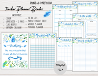 PLANNER: Teacher Planner | Gradebook | Binder Pages | Blue Floral Design
