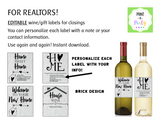 WINE LABELS: Realtors | Real Estate Closing Gift Wine or Gift Labels - Editable - INSTANT DOWNLOAD