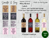WINE LABELS: COVID-19 | Coronavirus | Pandemic | Sarcastic Funny (8) - INSTANT DOWNLOAD - Use again and again!