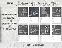 CHRISTMAS CHALKBOARD HOLIDAY GIFT TAGS | Holiday | Gift Labels| Chalkboard | INSTANT DOWNLOAD