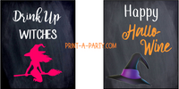 WINE LABELS: Halloween Chalkboard (4) Sarcastic - INSTANT DOWNLOAD - Use each year!