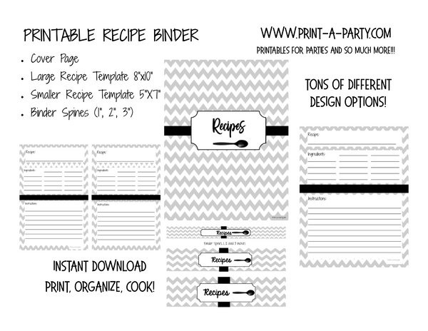 Recipe Binder Sheets - INSTANT DOWNLOAD - Cover, 3 different sized spines & 2 different recipe layouts - re-use for Home Organization Binder System or Recipe Organization