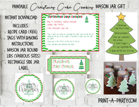 MASON JAR GIFT SET: Christmas Cake Cookies - INSTANT DOWNLOAD - includes recipe, labels and instructions