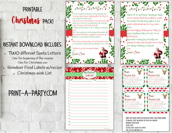 Christmas Magic Pack - INSTANT DOWNLOAD - Letters (2) from Santa, Magic Reindeer Food and Wish List