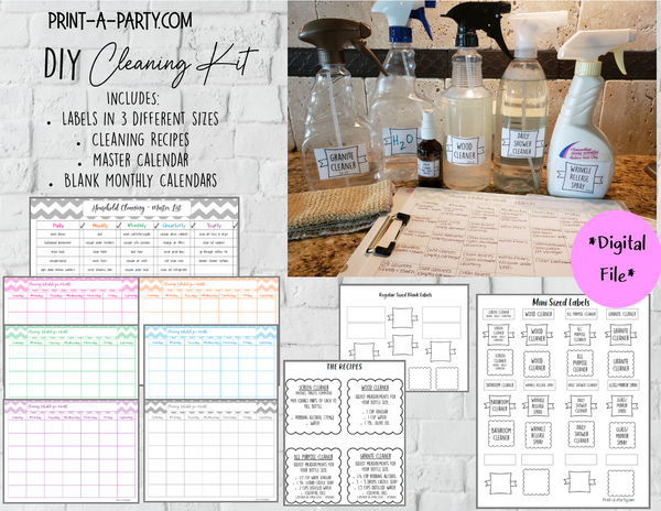 DIY Cleaning Kit: Labels, Recipes and Calendars - INSTANT DOWNLOAD