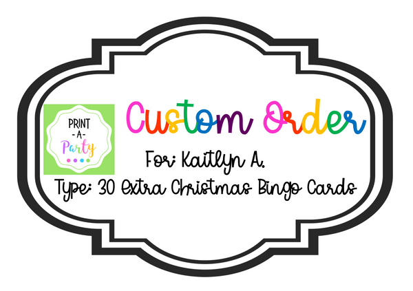 CUSTOM ORDER REQUEST: Extra Q30 Random Christmas Bingo Cards