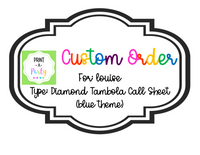 CUSTOM ORDER REQUEST: Tombola Call Sheet (Blue Glitter)