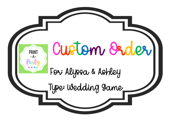 CUSTOM ORDER REQUEST: Wedding Game in Sunflower Design