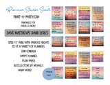 Planner Stickers: Dave Matthews Band Lyric Sticker Boxes - INSTANT DOWNLOAD Printable - Fits a variety of planners! Erin Condren, Happy Planner and more
