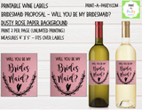 WINE LABELS: Wedding Bridesmaid Proposal - INSTANT DOWNLOAD - Choose your Color