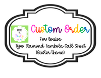 CUSTOM ORDER REQUEST: Tombola Call Sheet (Easter Theme)