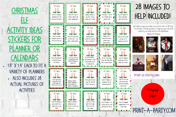 PLANNER STICKERS: Christmas | Elf Ideas (25) INSTANT DOWNLOAD | Fits a variety of planners! Erin Condren, Happy Planner and more