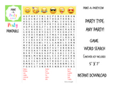 WORD SEARCH: Emoji | Birthday Party | Games  - INSTANT DOWNLOAD
