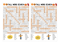 WORD SEARCH: Fall Theme for classrooms and parties or holidays!