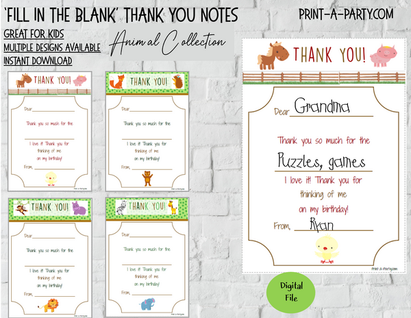 FILL IN THE BLANK | Thank You Cards | Animal Themes | Farm | Jungle | Forest | Great for Little Kids | INSTANT DOWNLOAD