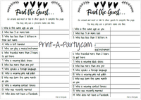 FIND THE GUEST Game for Bridal and Same Sex Wedding Shower - INSTANT DOWNLOAD