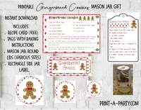 MASON JAR GIFT SET: Gingerbread Cookies - INSTANT DOWNLOAD - includes recipe, labels and instructions