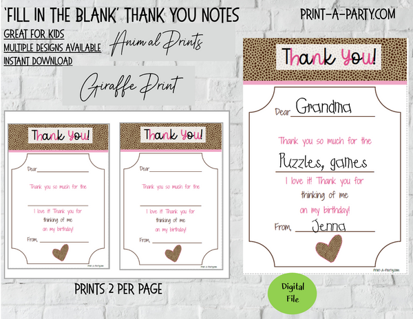 FILL IN THE BLANK | Thank You Cards | Animal Prints | Tiger | Leopard | Giraffe | Zebra Print | Great for Little Kids | INSTANT DOWNLOAD