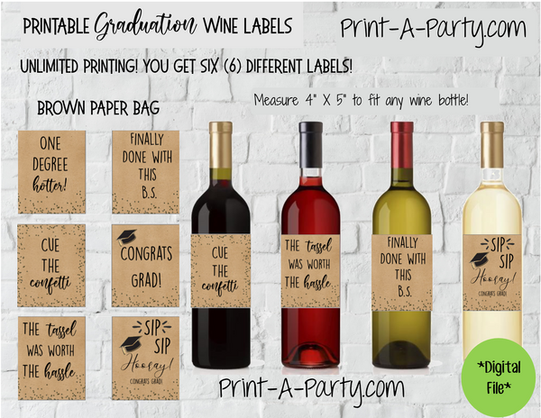 WINE LABELS: Graduation Wine (6) | Graduation Gift | College Grad | INSTANT DOWNLOAD - Pick your design