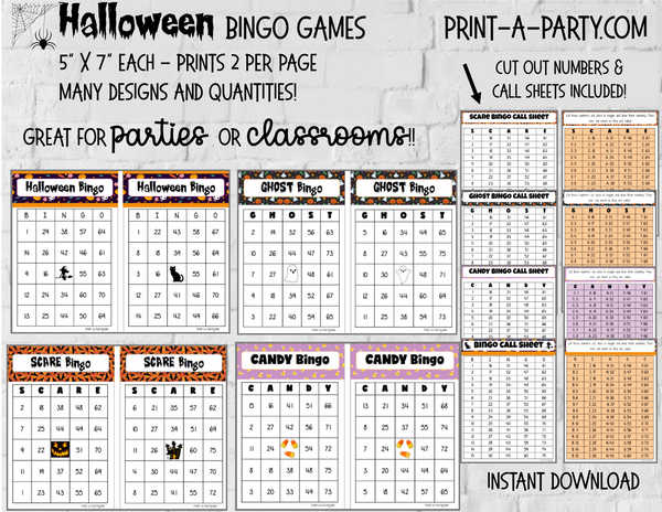 BINGO: Halloween Bingo | Ghost Bingo | Scare Bingo | Candy Bingo | Pick your design and size | great for Classrooms and parties