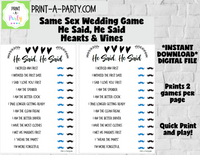 HE SAID, HE SAID: Same Sex Wedding Shower Game - INSTANT DOWNLOAD