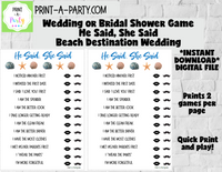 HE SAID, SHE SAID: Bridal or Wedding Shower Game - INSTANT DOWNLOAD