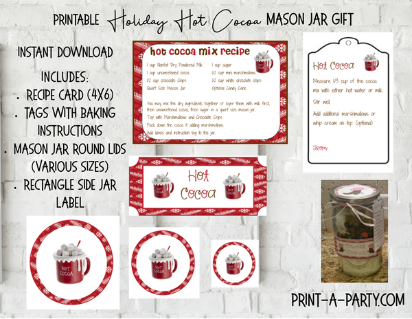 MASON JAR GIFT SET: Hot Cocoa - INSTANT DOWNLOAD - includes recipe, labels and instructions