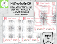 WORD SEARCH: Birthday Party Llamas - INSTANT DOWNLOAD