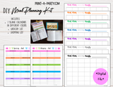 DIY Meal Planning Kit: 7 Calendar and 2 Grocery Shopping Lists - INSTANT DOWNLOAD