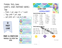 WHAT'S YOUR MERMAID NAME? Game with Name Tags- INSTANT DOWNLOAD