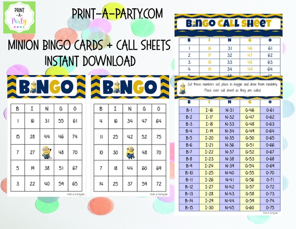 BINGO: Minions | Classrooms | Parties | Birthday | 30, 40, or 50 cards - INSTANT DOWNLOAD