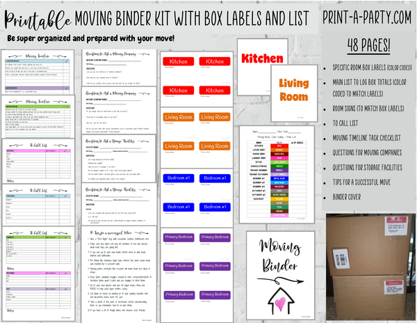 MOVING PLANNING BINDER: 48 Pages | Color Coded Moving Box Labels (18) | Main Tracking List | To Call List | Moving Timeline Checklist |INSTANT DOWNLOAD - Have an organized move!