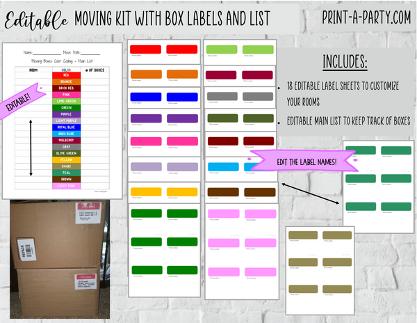 MOVING KIT: EDITABLE Color Coded Moving Box Labels (18) | EDITABLE Main Tracking List | INSTANT DOWNLOAD - Have an organized move!