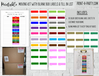 MOVING KIT: Color Coded Moving Box Labels (18) | Main Tracking List | INSTANT DOWNLOAD - Have an organized move!