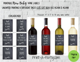 WINE LABELS: New Baby | New Parents | Baby Firsts Wine Labels - for Gifts, Wine Baskets - INSTANT DOWNLOAD