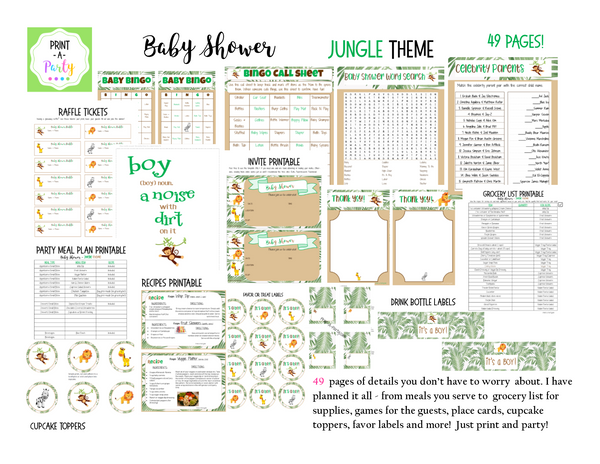 EVENT KIT Baby Shower Kit (Invite, Games, Meal Plan, Recipes, Favor tags and more) - Jungle Theme (49 pages) INSTANT DOWNLOAD Printable
