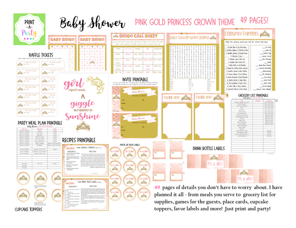 EVENT KIT Baby Shower Kit (Invite, Games, Meal Plan, Recipes, Favor Tags and more)  - Pink & Gold Princess Crown Theme (49 pages) INSTANT DOWNLOAD Printable