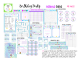 KIT: Birthday Party Kit (Invites, Meal Plan, Recipes, Games, Goody Bag Labels and more) - Mermaid Theme (48 pages) INSTANT DOWNLOAD Printable