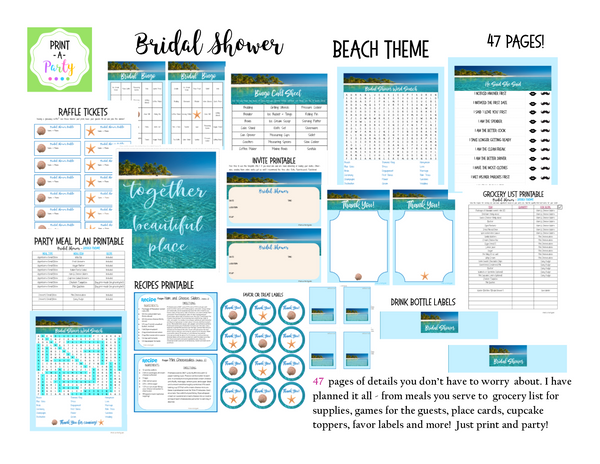 EVENT KIT Bridal Shower Kit (Invite, Games, Meal Plan, Recipes, Labels and more)  - Destination Wedding Beach Theme (47 pages) INSTANT DOWNLOAD Printable